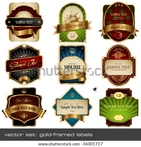 vector set: gold-framed labels - 9 items on different topics - stock vector