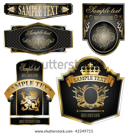 vector set: gold-framed labels on different topics - stock vector