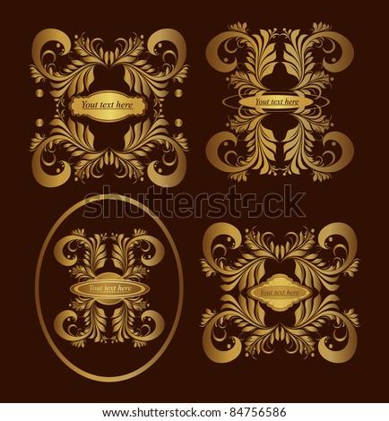 vector set: golden ornamental  labels - stock vector
