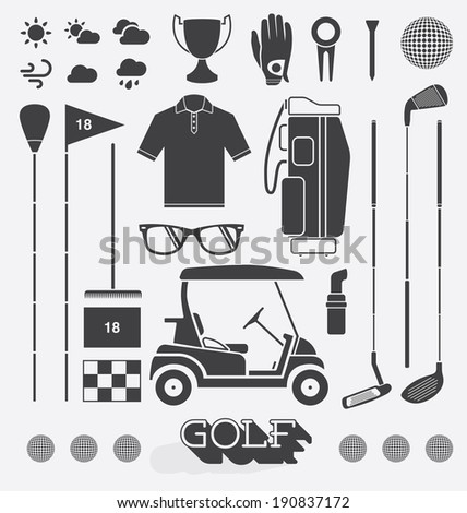 Vector Set: Golf Equipment Icons and Silhouettes - stock vector