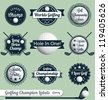 Vector Set: Golfing Champion Labels and Icons - stock photo