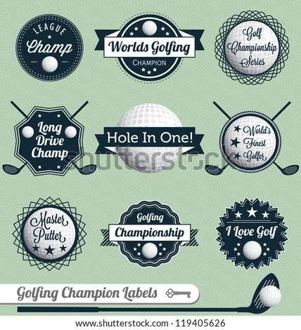 Vector Set: Golfing Champion Labels and Icons - stock vector
