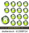 vector set: green buttons - aqua-style glossy buttons, blank and with 14 icons - stock photo