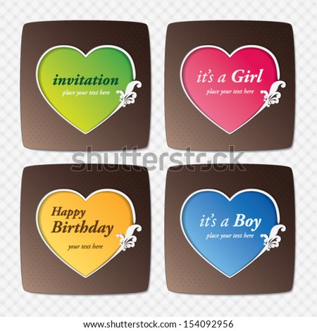 vector set : greeting cards with heart shape - stock vector