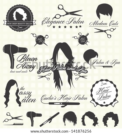 Vector Set: Hair Salon Labels and Icons - stock vector