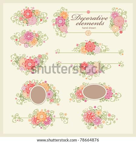 vector set: hand drawn floral design elements. - stock vector