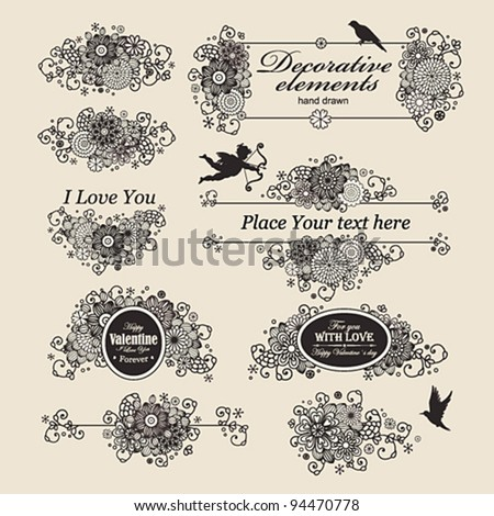 Vector set: hand drawn floral design elements.