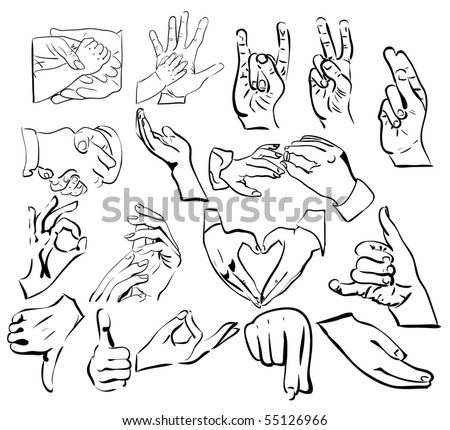 vector set: hand gestures - stock vector