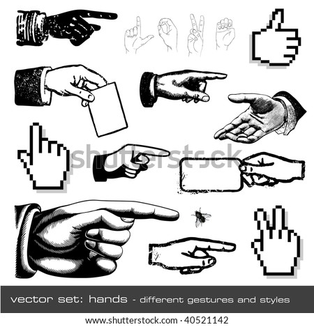 vector set: hands - different gestures and styles, 12 items - stock vector