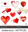 vector set: hearts - 9 Valentine's design elements - stock photo
