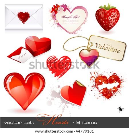 vector set: hearts - 9 Valentine's design elements - stock vector