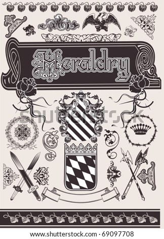 Vector Set Heraldry. Elements For Page Ornate Design. - stock vector