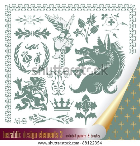 vector set: heraldry - elements for your heraldic design projects - stock vector