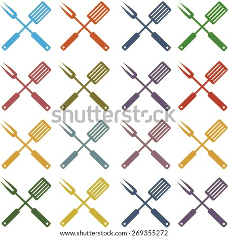 vector set icons bbq fork and spatula in different dark and light colors - stock vector