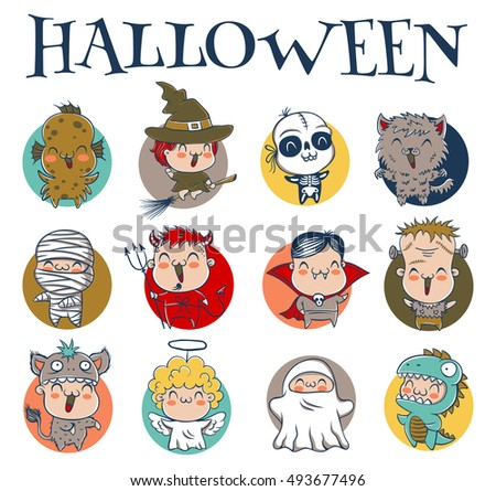 Vector set icons children in costumes for Halloween. Witch, devil, angel, zombie, ghost, mummy, vampire and etc