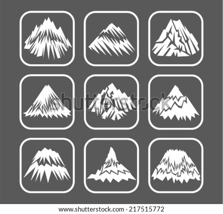 vector set icons of mountains - stock vector