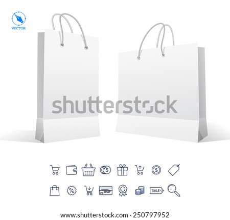 Vector set icons of sale and package. Black Carrier Paper Bag . Illustration Isolated On White Background. Ready For Your Design. Product Packing Vector - stock vector