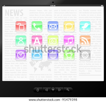 Vector Set icons on screen tablet computer.  EPS8 illustration - stock vector