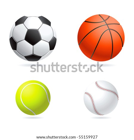 Vector set  illustration of sport balls - stock vector