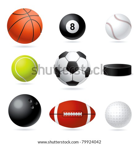 Vector set illustration of sport balls. - stock vector