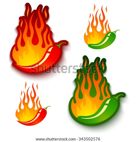 Vector set illustrations of a hot jalapeno and chili peppers in fire - stock vector