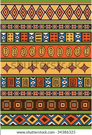 Vector set including ethnic African pattern with multicolored typical elements - stock vector