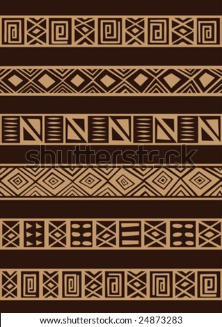 Vector set including ethnic African stripe with geometrically typical elements - stock vector