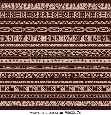 Vector set including ethnic African stripe with geometrically typical elements