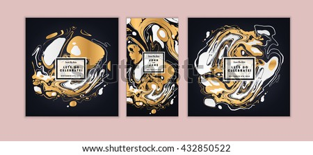 Vector set Ink texture, watercolor hand drawn artistic marbling invitation, ebru illustration. Template for sail, wedding (save date), Christmas, envelope, valentine, trendy card design for party. - stock vector