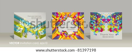 Vector set invitation cards  on abstract colorful background - stock vector
