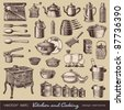 vector set: kitchen and cooking - collection of vintage kitchen items and tableware - stock photo
