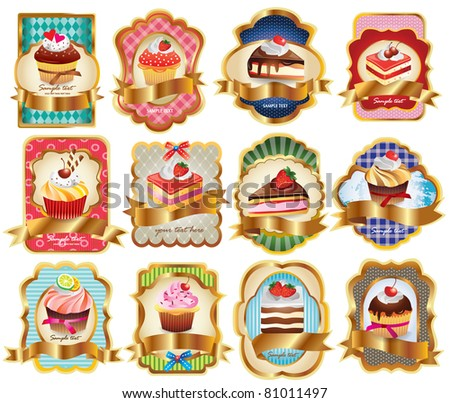 Vector set labels with sweet cakes - stock vector