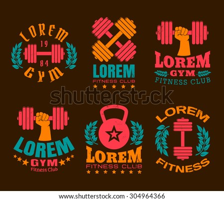 Vector set logos for a fitness and bodybuilding - stock vector