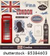 vector set: London - variety of London related design elements - stock photo