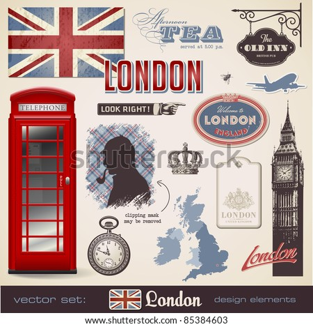 vector set: London - variety of London related design elements - stock vector