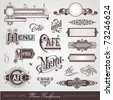 vector set: menu headpieces, panels and ornate design elements - stock photo