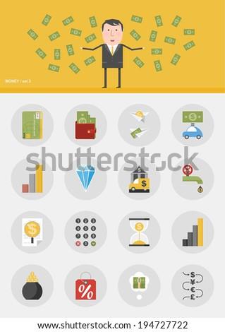 Vector set / Money / 16 flat design icons - stock vector