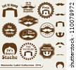 Vector Set: Mustache Labels and Design Stache Elements - stock vector