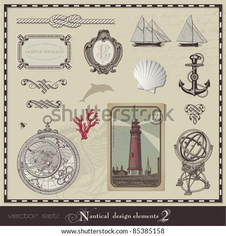 vector set: nautical design elements (2) - stock vector