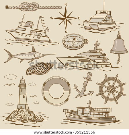 Vector set: nautical design elements - retro maritime illustrations.