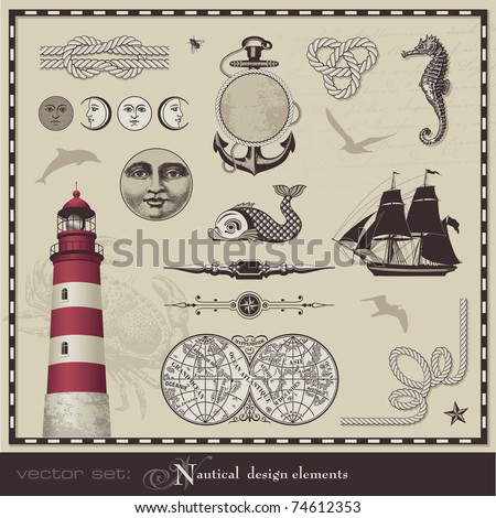 vector set: nautical design elements - set of retro maritime illustrations - stock vector