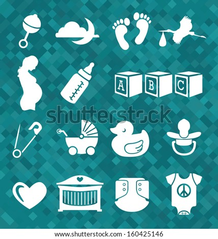 Vector Set: Newborn Baby Icons and Symbols - stock vector