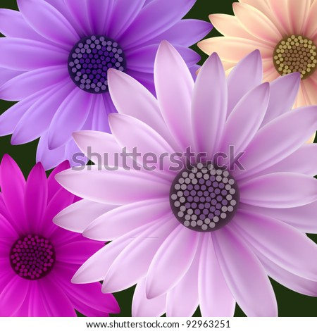 vector set: night flowers - stock vector