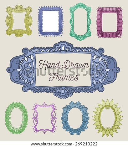 Vector set: Nine Colorful Hand Drawn Frames With Intricate Borders - stock vector