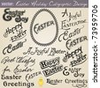 VECTOR Set No.1: Vintage Easter Calligraphic Wishes and Greetings. Useful for your Easter holiday card design and also to embellish your layout. - stock photo
