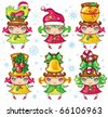 Vector set of a cute Christmas girls wearing santa hats and top-hats with holiday decoration: Christmas bird, glittering star, sweet apple, christmas holly, golden jingle bell, candy-cane. - stock vector
