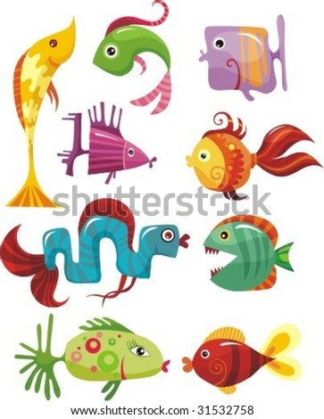 vector set of a different colorful fishes