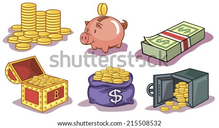 Vector set of a money and coins icons - stock vector