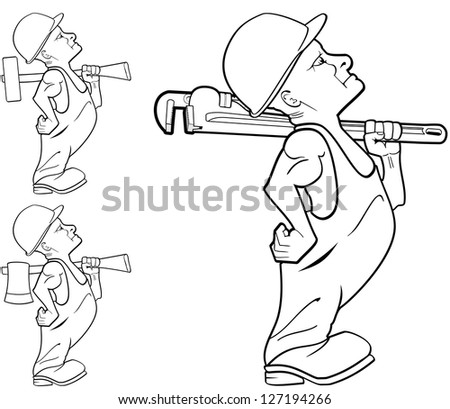 Vector set of a working man with an ax, a wrench and a sledge hammer
