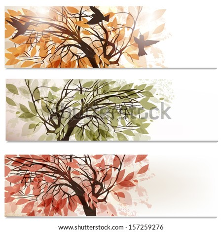 Vector set of  abstract backgrounds  with tree in foliage - stock vector